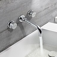 עכשווי מותקן על הקיר ניתן לסיבוב with  שסתום קרמי שתי ידיות שלושה חורים for  כרום , חדר רחצה כיור ברז