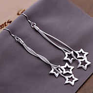 Fashion Star Shape Copper Silver Plated Earrings(Silver)(1Pr)