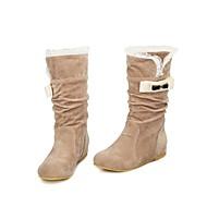Women's Fall Winter Snow Boots Suede Casual Wedge Heel Buckle Black Beige