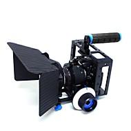 yelangu® top håndtag dslr kamera bur med matte box og følg fokus for dslr kamera video