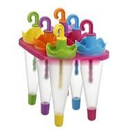 """6 תאי עובש מטריית גלידת מגש קוביית תבנית עם סטיק (Random Color), 6.4 X6 """"x4.4"""" פלסטיק """""""