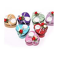 Romantische Heart-shaped Favor Dosen mit Blumen - Set von 12 (weitere Farben)
