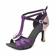 Customizable Women's Dance Shoes Latin Satin Customized Heel Black/Blue/Brown/Yellow/Pink/Purple/Red/White/Fuchsia/Other