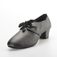 Soft Calfskin Upper Lace Chunky Heel Dance Shoes