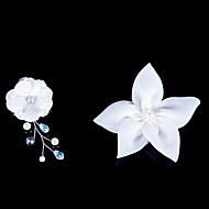 Satin Flowers With Imitation Pearl Wedding/Party Headpiece (Set Of 2)