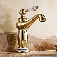 Traditional Centerset Ceramic Valve Single Handle One Hole with Ti-PVD Bathroom Sink Faucet