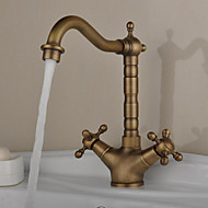 Antique Bar/­Prep Deck Mounted Rotatable with  Ceramic Valve Two Handles One Hole for  Antique Brass , Kitchen faucet