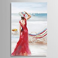 Hand Painted Oil Painting People Sunshine Holiday with Stretched Frame