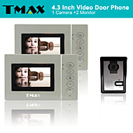 "TMAX® 4.3"" LCD Video Door Phone Doorbell Home Entry Intercom with 500TVL Night Vision Camera (1Camera to 2Monitors)"