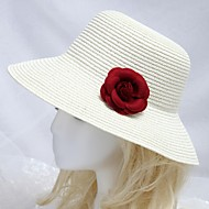 Women's Seaside Sun Hat With Burgundy Flower