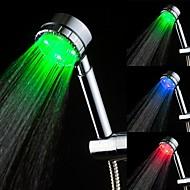 Color Changing LED Hand Shower Chrome Finish Temperature Sensor