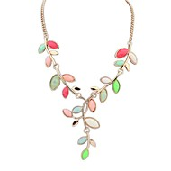 Women's Bohemia Style Fashion Resin Leaves Alloy Bib Statement Necklace (More Colors)(1 pc)