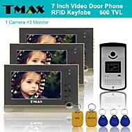 "TMAX® 7"" TFT Wired Doorbell Video Intercom Door Phone System RFID Keyfob 600TVL HD IR Camera (1Camera to 3Monitors)"