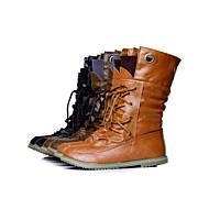 VROUWEN Comfort/Combat Boots - Laarzen (Zwart/Bruin/Geelbruin) - met Low Heel - en Kunstleer
