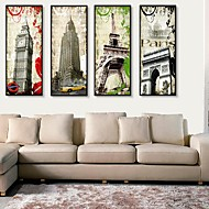 Architecture Framed Canvas / Framed Set Wall Art,PVC Black No Mat With Frame Wall Art