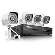 zmodo® 4-kanals hd NVR spoe sikkerhedssystem med 4 720p nat ip kamera