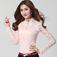 Women's Lace Black/Pink Blouse , Stand Long Sleeve Lace