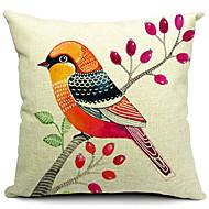 färgrik fågel bomull / linne dekorativa örngott