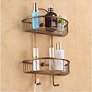 Bathroom Shelf Antique Bronze Wall Mounted 24*12*39cm(9.5*4.72*15inch) Brass Antique