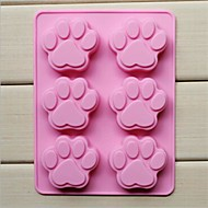 6 Hole Cat's Paw Shape Cake Ice Jelly Chocolate Molds,Silicone 18.5×14.1×1.6 CM(7.3×5.6×0.6 INCH)