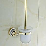 Ceramic Brass Golden Ti-PVD Toilet Brush Holder