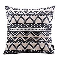 noir géométrique coton mosaïque / lin taie d'oreiller décoratif