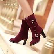 נעלי נשים - מגפיים - דמוי עור - מעוגל - חום / ירוק / סגול - קז'ואל - עקב עבה