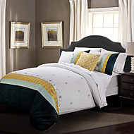 Huani® Duvet Cover Set,3-Piece 100% Cotton Classic Embroidery Elegance White