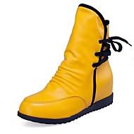 Sort / Gul / Rød / Hvid - Kilehæl - Kvinders Sko - Modestøvler - Syntetisk læder - Hverdag - Støvler