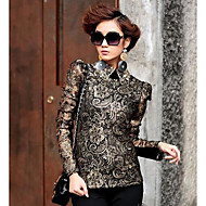 Women's Print Black Blouse , Vintage/Sexy/Bodycon/Casual/Print/Lace/Cute Shirt Collar Long Sleeve Lace