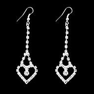 여성의 사랑 자물쇠 모양의 클래식 실버 도금 인공 모조 다이아몬드 귀걸이 (1pair)
