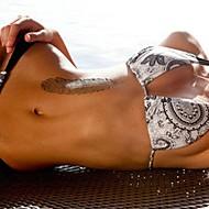 1szt pióro pozostawia metaliczny złote i srebrne naklejki tatuaże tymczasowe tatuaże (10,5 * 24.5cm)