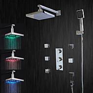 LED Wandhalterung Chrom Dusche Wasserhahn mit Seitenbrausen (verchromt)