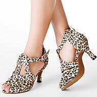 Customized Women's Leopard Satin Upper T-strap Dance Shoes
