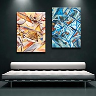 Stretched Canvas Art Abstract Color Decoration  Set of 2
