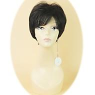 100% ljudska kosa kratka sa strane šiške bez poklopca kosa ravna vlasulja crna