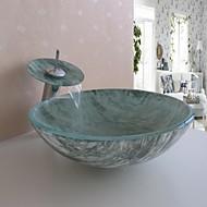 badkamer wastafel set, gehard glazen vat zinken met waterval kraan, montage en water afvoer