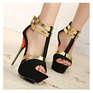 Women's Spring / Summer / Fall Heels / Peep Toe / Platform Office & Career / Dress / Party & Evening Stiletto Heel BuckleBlack / Blue /
