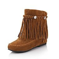 Women's Spring Fall Winter Fashion Boots Faux Suede Dress Flat Heel Tassel Black Brown Red