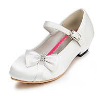 Girl's Heels Spring Summer Fall Winter Comfort Satin Wedding Flat Heel Bowknot Pink Red Ivory White