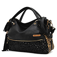 Women PU Shopper Tote - Black / Animal Print