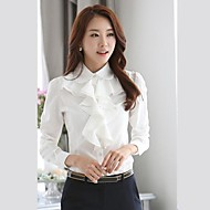 kvinnors fast svart vit slim fit skjorta, arbete rufsar krage långärmad