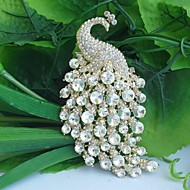 Women's Brooches Crystal Fashion Peacock White Jewelry Wedding Party Special Occasion Anniversary Birthday Engagement Gift Daily