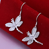 Sweet Droganfly Shape Silver Plated Earring (Silver)(1Pair)