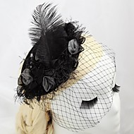 Women's/Flower Girl's Satin/Feather Headpiece - Wedding/Special Occasion/Outdoor Fascinators/Hats