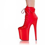 Women's Shoes Leatherette Fall / Winter Platform / Fashion Boots Dress Stiletto Heel Zipper / Lace-up / Magic Tape Red