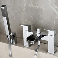 Contemporary Tub And Shower Waterfall / Handshower Included with  Brass Valve Two Handles Two Holes for  Chrome , Shower Faucet / Bathtub