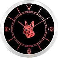 Boston Terrier Dog Pet Shop Neon Sign LED Wall Clock