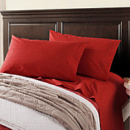 4pcs Sheet Set,200TC 100%Cotton White Dots in Red with Bag