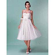 Lanting A-line/Princess Plus Sizes Wedding Dress - Ivory Knee-length Halter Satin/Tulle